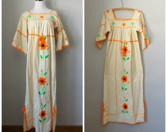 ab9cc53fa20 mexican floral oaxaca dress - vintage 60s embroidered floral maxi - size s    small - cotton hippy bohemian wedding dresses - 1960s hippie