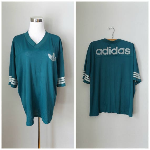 adidas trefoil jersey shirt vintage 80s aqua green gray three stripe netted pullover size xl extra large spellout athletic top 1980s