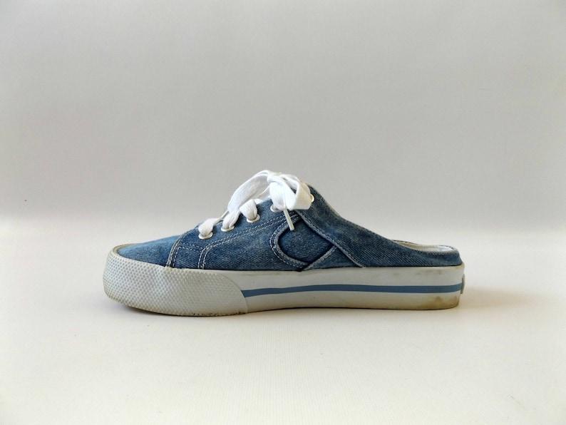 d8675f699ac90 blue jean mule shoes - size 9 - vintage 90s denim slip on tennis shoes -  normcore hipster athletic clogs - 1990s club kid hippie boho sneaks