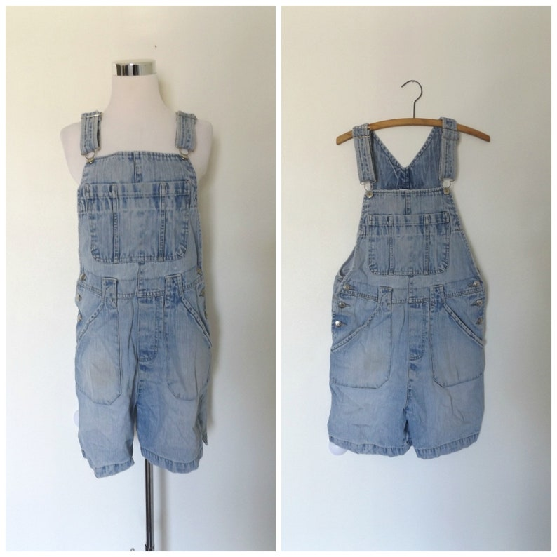 da83e63a7a Blue jean bib overall shorts vintage 90s cotton ladies size s