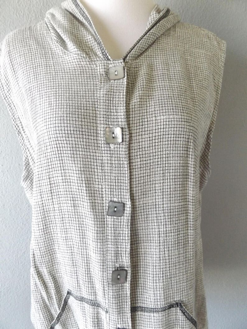 vintage beige black button down top size ssmall grunge hipster dresses shirt 1990s basic hooded top dresses plaid linen hoodie blouse