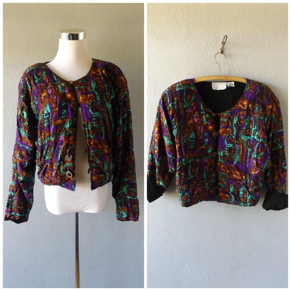 ikat cropped jacket / vintage 80s hippie boho crop