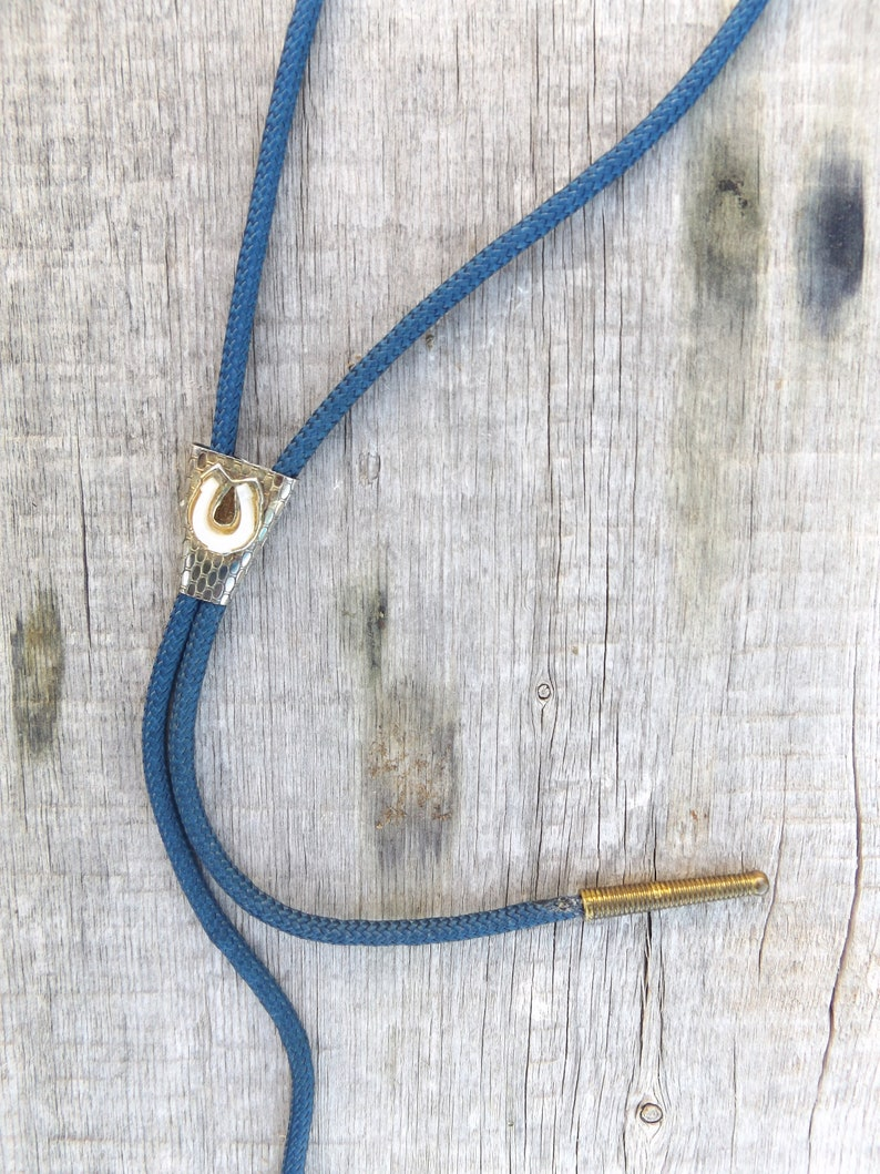80s horseshoe bolo tie necklace  vintage silver blue western men/'s rope lariat necktie  women/'s cowboy jewelry  1980s rockabilly hipster