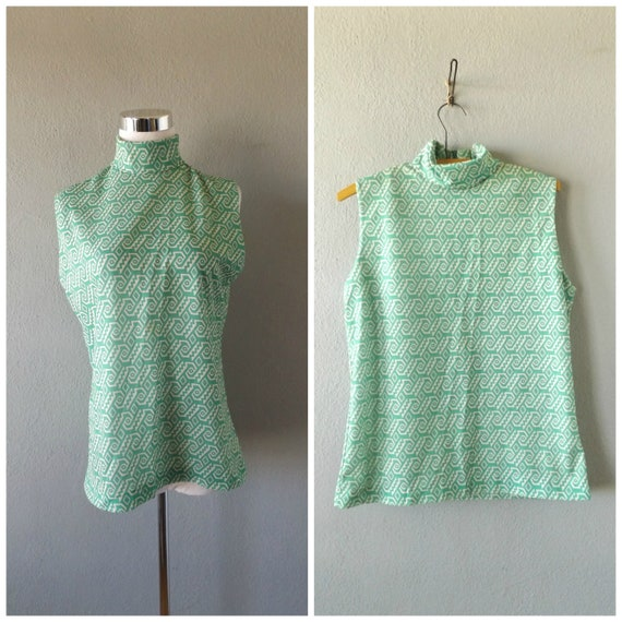 mod aztec green blouse | vintage 60s sleeveless tu