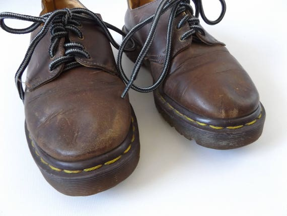 grunge vintage 90s in lace marten leather made up brown punk dr 1990s shoes rock UK normcore shoe england oxfords docs 5 docs size XtCwAfq