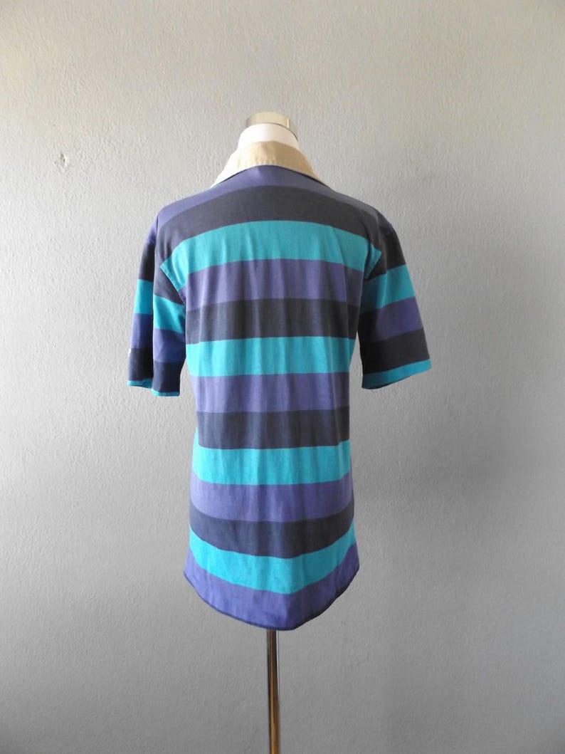 ocean pacific stripe polo shirt vintage 80s blue purple worn in faded mens size mmedium top hipster grunge 1980s women blouse hippie boho