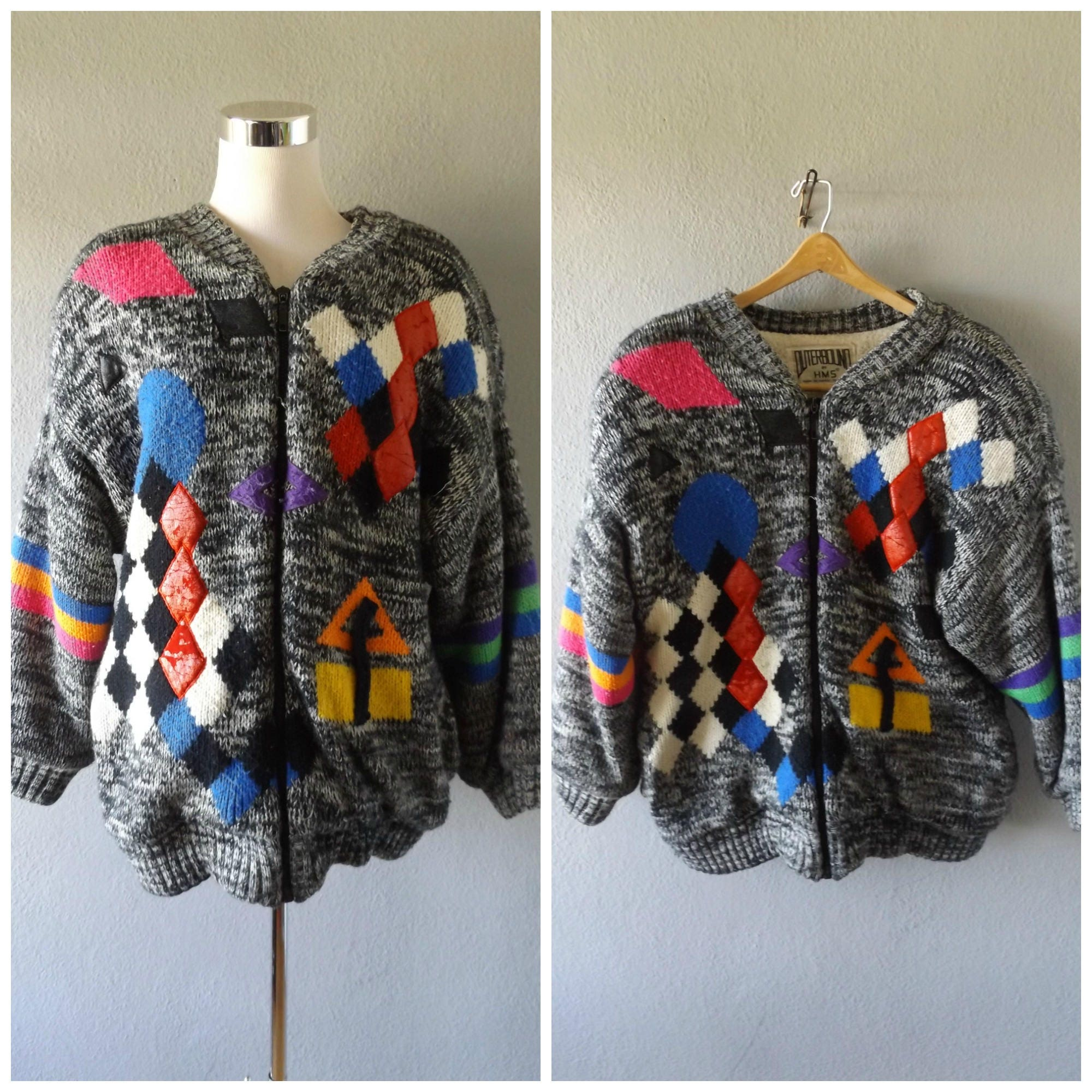 80s Sweatshirts, Sweaters, Vests | Women Vintage 80S Saved By The Bell Sweater - Size Large Abstract Check Print Chunky Knit Jacket 1980S Ladies Coat Leather Geometric Shirt $89.10 AT vintagedancer.com