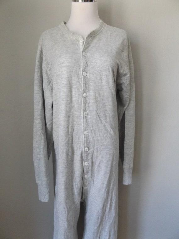 jumpsuit pajamas unisex size 1980s long large l bean down thermal button john lounge ll wear gray boho vintage nightwear men's 80s CqUtB