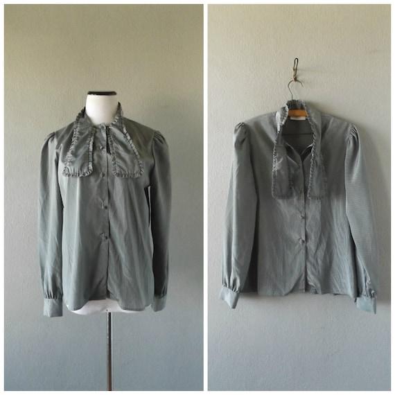 Stripe Ascot Bow Blouse Vintage 80s Gray Black Thi