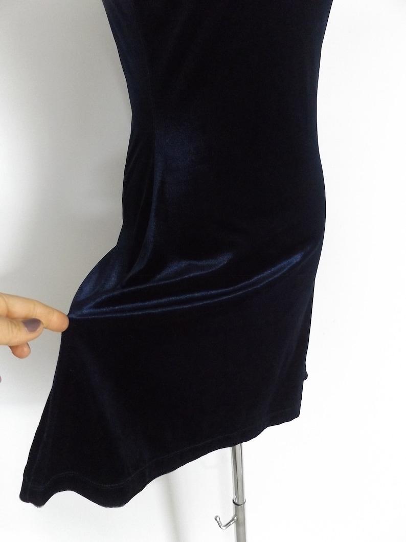 grunge skater dress  vintage 90s stretchy navy blue velour mini dresses  S  small  1990s minimal basic tunic blouse  rocker minimalist