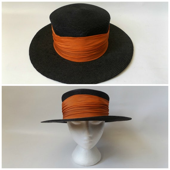 black straw boaters hat vintage 30s wide brim woven ladies  1157175097a4