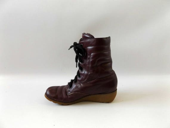 heel boots 1 up 2 70s shoes lace size winter booties 8 1970s ladies oxblood snow boho wedge red vintage hipster hippie hippy leather OnqEU