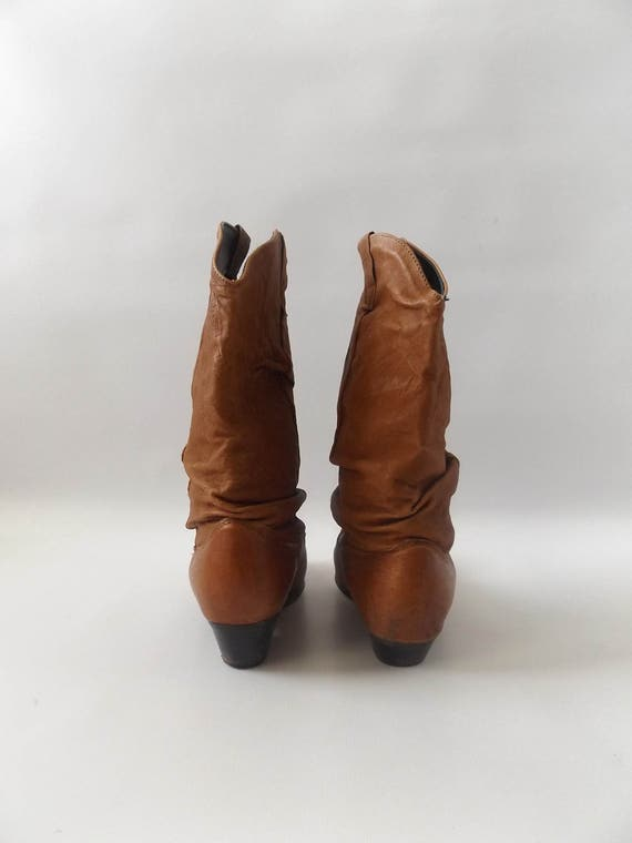 1980s dresses dress 6 slouch hippy boot vintage 80s size 2 slouchy leather stamped mid calf boho cowboy hipster boots brown western sun 1 qR04B1U