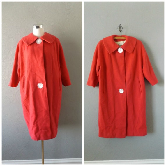 Pink 60s Mod Ladies Jacket Vintage Woven Wool Long