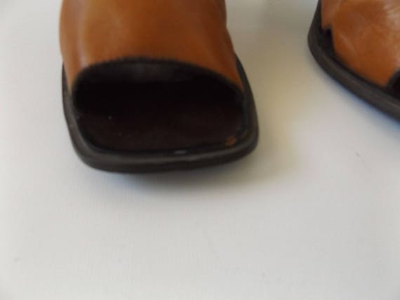 1990s open shoe west vintage shoes slip boho heeled clogs toe brown hippie size leather minimalist on minimal mule nine 9 cutout 90s RCq6vw6