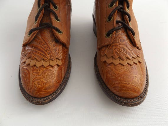 stamped roper leather print size boho 1990s granny up floral 90s 6 boot hipster vintage paisley boot hippie ladies lace brown packer qrqP5d