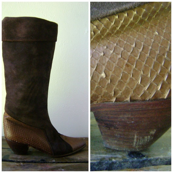snake skin slouch boots - vintage 80s size 38 US 7