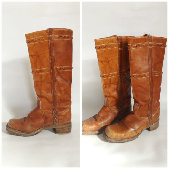 vintage leather campus boots / 70s ladies tall rid