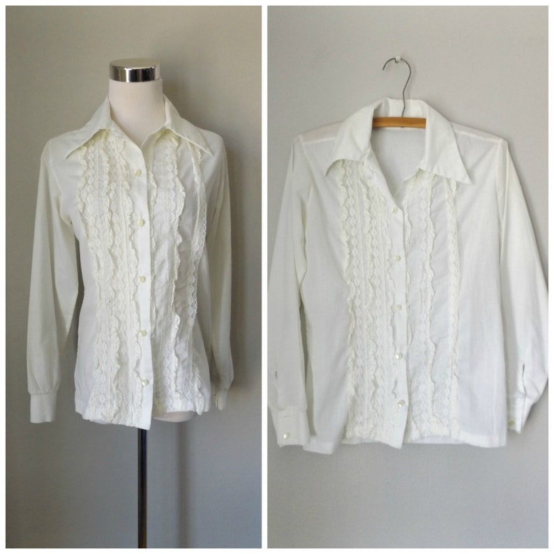 9136f8b4f2344 White lace ruffle blouse vintage 70s semi sheer button down