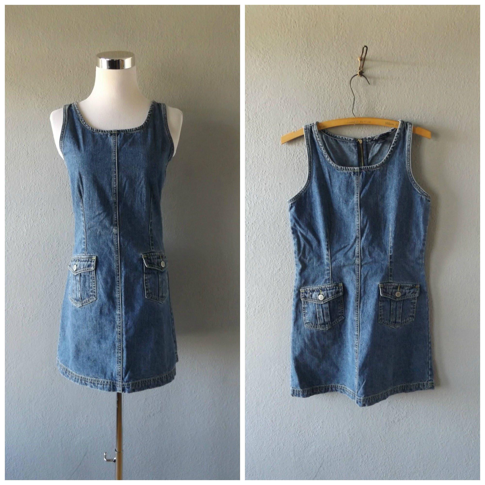 b49cbc5b0f Blue denim mini dress vintage 90s grunge cotton jean jumper