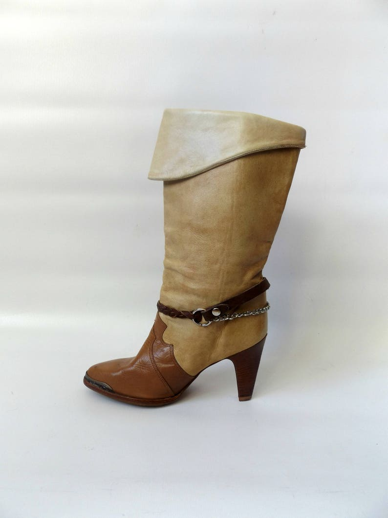 d6b63d9943c zodiac heeled harness boots - size 8 1/2 - vintage 80s brown leather high  heel ladies shoe - hippie boho western cowboy boot - 1980s hipster