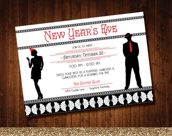 printable new years eve party invitation with a fun flapper roaring 20s theme for a costume or fancy dress party in red and black