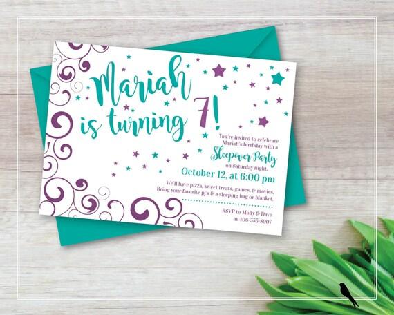 Printable Swirly Star Birthday Invitation Girls