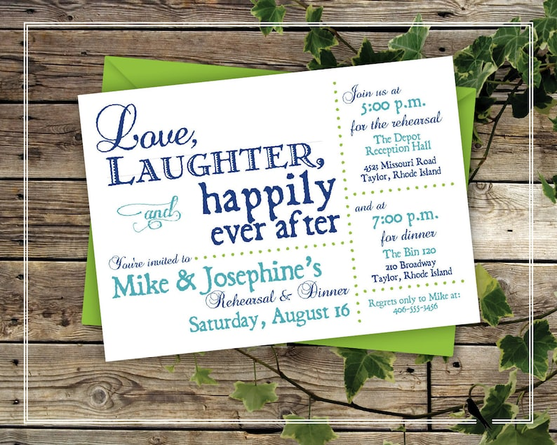 graphic about Free Printable Rehearsal Dinner Invitations known as Printable Rehearsal Meal Invitation - Pleasurable Marriage Rehearsal Supper Invitation - Blue, Get pleasure from, Laughter, Fortunately At any time Soon after Invitation