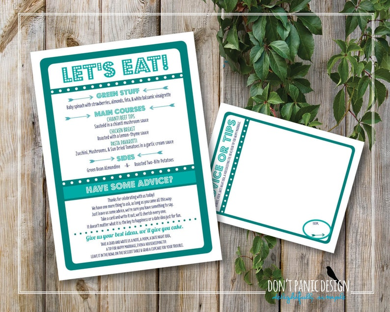 photo relating to Eat More Chicken Sign Printable called Printable Wedding day Menu - Ground breaking, Exciting, Teal Supper Menu - Try to eat Consume Marry/Merry Supper Menu - Wedding ceremony Assistance Card - Personalized Shades