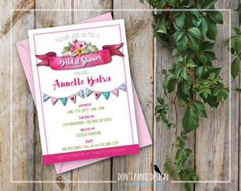 Printable Bridal Shower Invitation - Pretty Pink Flower Bridal Shower Invitation - Wild Flower invitation - Garden Party Invitation