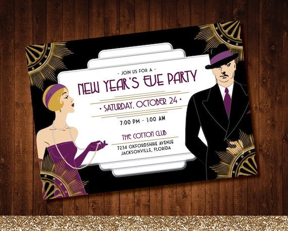 New Years Eve Roaring 20's Art Deco Party Invite