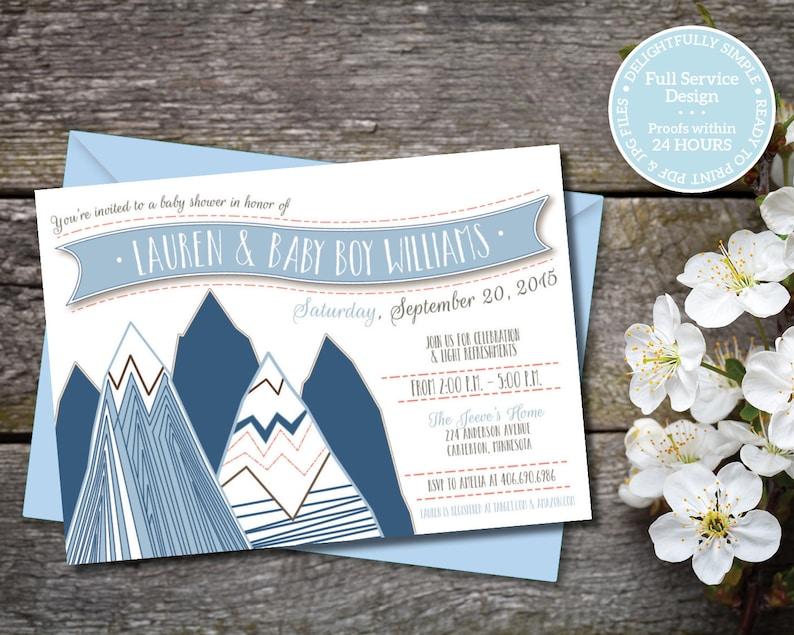 Blue Boy Gender Neutral Baby Shower Coral /& Taupe Invitation Girl Adventure Baby Shower Printable Mountain Baby Shower Invitation