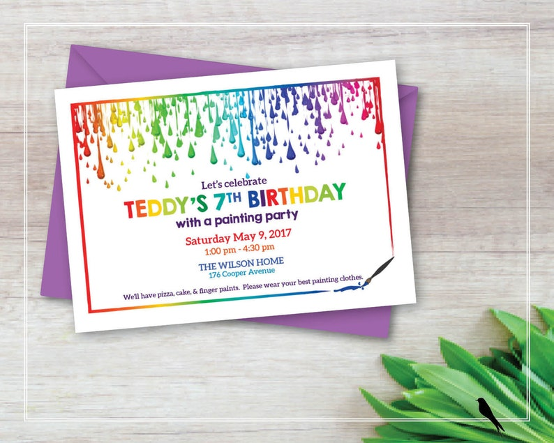 Printable Painting Party Birthday Invitation Kids Art