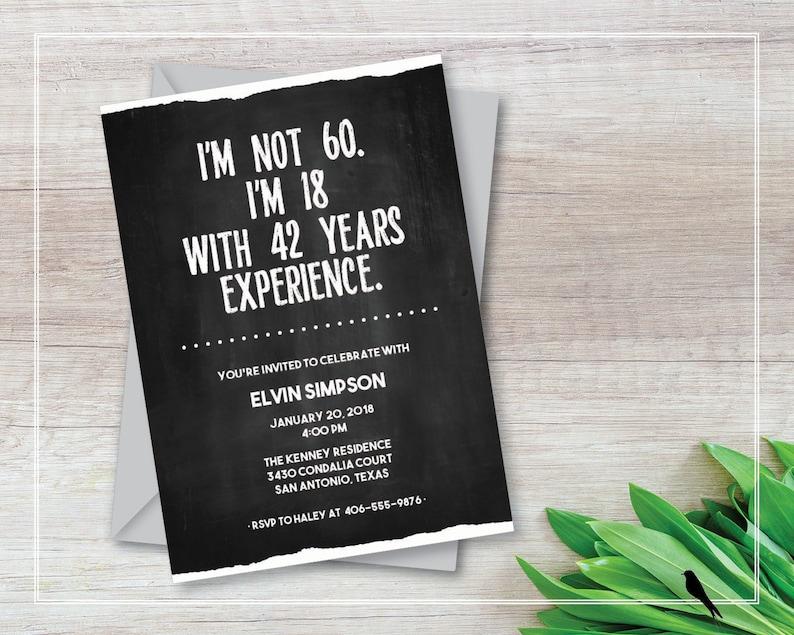 Printable 60th Birthday Invitation Adult Funny