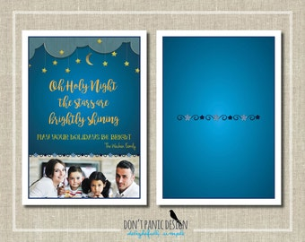 Fun Printable Starry Night Photo Holiday Card - 5x7 card