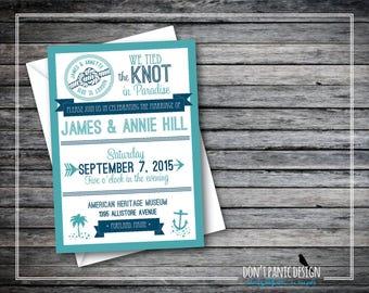 Printable Wedding Announcement Invitation - Nautical Wedding Reception Invitation - Wedding Announcement Turquoise & Navy - Custom Colors