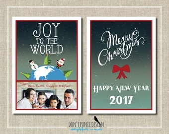 Adorable Printable Joy to the World Photo Holiday Card - 5x7 card