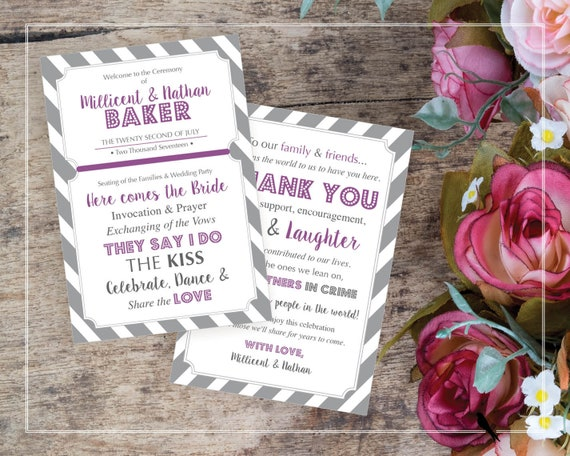 fun printable wedding program and thank you card in purple etsy