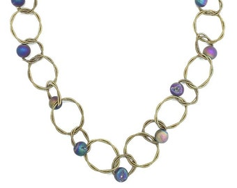 Piano Wire Necklace Gold with Geode Stone Beads
