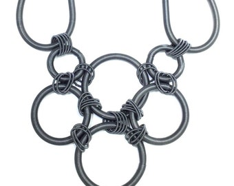 Stunning Slate Piano Wire Necklace with Loops