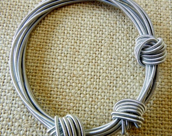 Piano Wire Bracelet with knots Silver