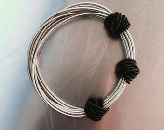 Piano Wire Bracelet  Silver with black knots