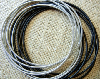 Piano Wire Bracelet Silver and Black