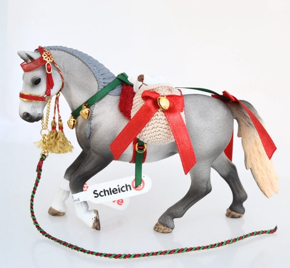 Christmas Horse Tack.Handmade Christmas Tack For Schleich Model Horses Pferde Caballo Cavallo With Plush Teddy Bears