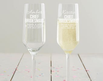 Personalised Chief Bridesmaid Champagne Flute