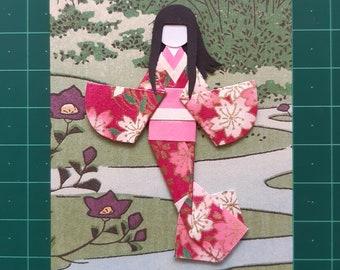 Japanese paper doll embellishment for ATC / Journal / scrapbook / crafts / card making, set of 4