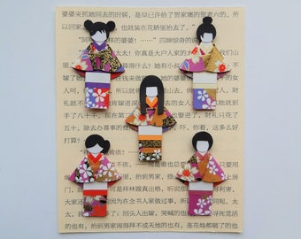 Japanese paper doll embellishment for ATC / Journal / scrapbook / crafts / card making