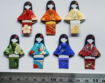 Handmade Japanese chiyogami paper doll embellishment for ATC / Journal / scrapbook / crafts / card making