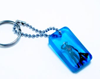 Miniature diver keychain. Gift for him, Scuba diver. marine. Resin art. Resin jewelry. Blue.