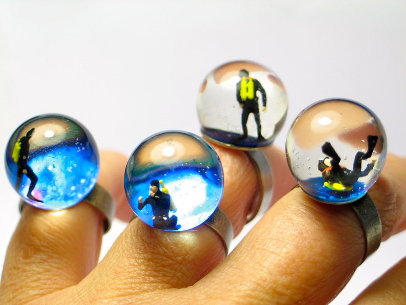 Diver ring diving ring. Resin rings. Modern jewelry. resin image 0